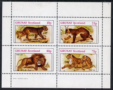 Grunay 1982 Animals (Lynx, Lion, etc) perf  set of 4 values (10p to 75p) unmounted mint, stamps on animals    cats