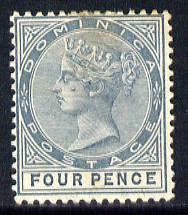 Dominica 1886-90 QV Crown CA 4d grey mounted mint SG 24