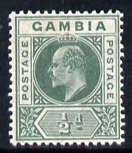 Gambia 1904-06 KE7 MCA 1/2d green mounted mint SG 57