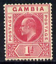Gambia 1904-06 KE7 MCA 1d carmine mounted mint SG 58