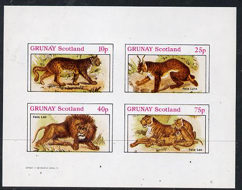 Grunay 1982 Animals (Lynx, Lion, etc) imperf  set of 4 values (10p to 75p) unmounted mint
