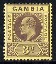 Gambia 1909 KE7 MCA 3d purple on yellow mounted mint SG 75