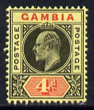 Gambia 1909 KE7 MCA 4d black & red on yellow mounted mint SG 76