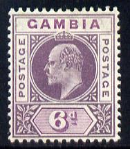 Gambia 1909 KE7 MCA 6d dull & bright purple mounted mint SG 78