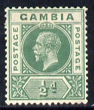 Gambia 1921-22 KG5 Script CA 1/2d dull green mounted mint SG 108