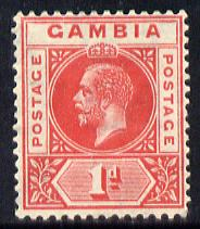 Gambia 1921-22 KG5 Script CA 1d carmine mounted mint SG 109