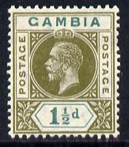 Gambia 1921-22 KG5 Script CA 1.5d olive-green & blue-green mounted mint SG 110