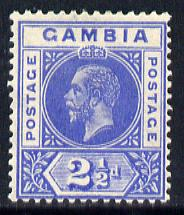 Gambia 1921-22 KG5 Script CA 2.5d bright blue mounted mint SG 112