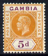 Gambia 1921-22 KG5 Script CA 5d orange & purple mounted mint SG 113