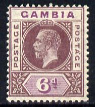 Gambia 1921-22 KG5 Script CA 6d dull & bright purple mounted mint SG 114