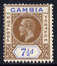 Gambia 1921-22 KG5 Script CA 7.5d brown & blue mounted mint SG 115