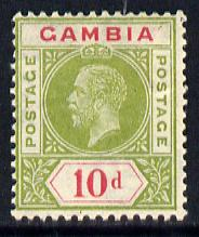 Gambia 1921-22 KG5 Script CA 10d pale sage-green & carmine mounted mint SG 116