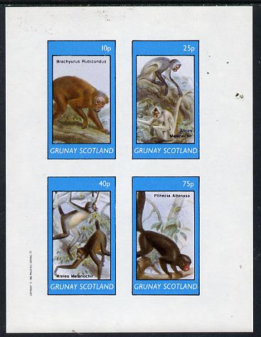 Grunay 1982 Monkeys imperf  set of 4 values (10p to 75p) unmounted mint