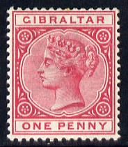 Gibraltar 1886-98 Sterling Currency 1d red mounted mint SG 9/40