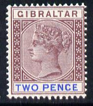 Gibraltar 1886-98 Sterling Currency 2d brown-purple & ultramarine mounted mint SG 41