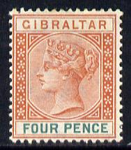 Gibraltar 1886-98 Sterling Currency 4d orange-brown & green mounted mint SG 43