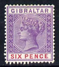 Gibraltar 1886-98 Sterling Currency 6d violet & red mounted mint SG 44