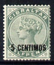 Gibraltar 1889 Spanish Currency Surcharge 5c on 1/2d green mounted mint SG 15