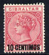 Gibraltar 1889 Spanish Currency Surcharge 10c on 1d rose mounted mint SG 16