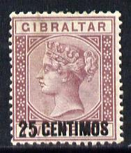 Gibraltar 1889 Spanish Currency Surcharge 25c on 2d brown-purple mounted mint SG 17