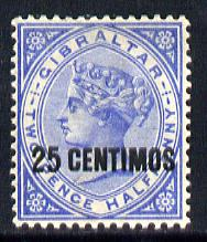 Gibraltar 1889 Spanish Currency Surcharge 25c on 2.5d blue mounted mint SG 18
