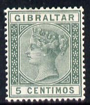 Gibraltar 1889-96 Spanish Currency 5c green mounted mint SG 22