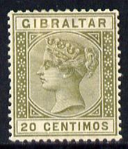 Gibraltar 1889-96 Spanish Currency 20c olive-green mounted mint SG 25