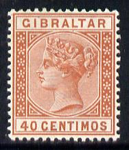 Gibraltar 1889-96 Spanish Currency 40c orange-brown mounted mint SG 27