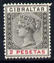 Gibraltar 1889-96 Spanish Currency 2p black & carmine mounted mint SG 32
