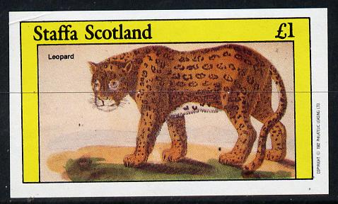 Staffa 1982 Animals (Leopard) imperf souvenir sheet (�1 value) unmounted mint