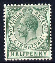 Gibraltar 1912-24 KG5 MCA 1/2d green mounted mint SG 76