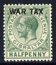 Gibraltar 1918 War Tax 1/2d green mounted mint SG 86