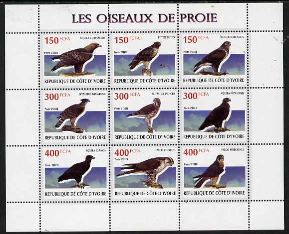 Ivory Coast 2009 Birds of Prey perf sheetlet containing 9 values unmounted mint