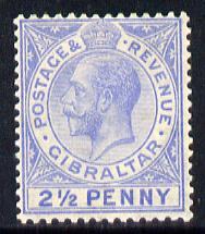 Gibraltar 1921-27 KG5 Script CA 2.5d blue mounted mint SG 94