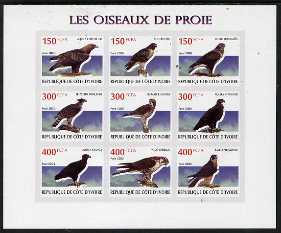 Ivory Coast 2009 Birds of Prey imperf sheetlet containing 9 values unmounted mint