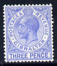 Gibraltar 1930 KG5 Script CA 3d blue (Three Pence) mounted mint SG 109