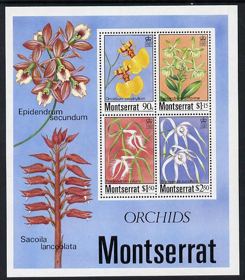 Montserrat 1985 Orchids m/sheet containing 4 values unmounted mint, SG MS 635