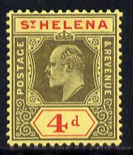 St Helena 1908-11 KE7 Key Plate 4d black & red on yellow mounted mint SG66a