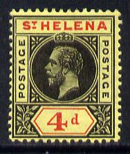 St Helena 1913 KG5 Key Plate (Postage Postage) 4d black & red on yellow mounted mint SG85