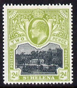 St Helena 1903 KE7 Pictorial 2d black & sage-green mounted mint SG57