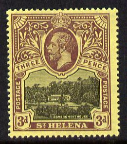 St Helena 1912-16 KG5 Pictorial 3d black & purple on yellow mounted mint SG77