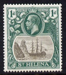 St Helena 1922-37 KG5 Badge Script 1d mounted mint SG 98