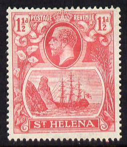 St Helena 1922-37 KG5 Badge Script 1.5d rose-red mounted mint SG 99