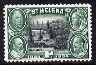 St Helena 1934 KG5 Centenary 1d mounted mint SG 115
