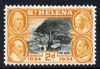 St Helena 1934 KG5 Centenary 2d mounted mint SG 117