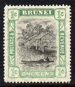 Brunei 1907-10 River Scene MCA 1c grey-black & pale green mounted mint SG 23