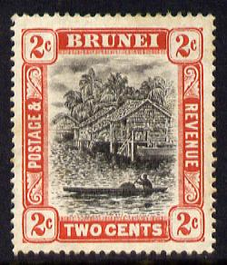 Brunei 1907-10 River Scene MCA 2c grey-black & scarlet mounted mint SG 24