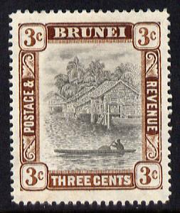 Brunei 1907-10 River Scene MCA 3c grey-black & chocolate mounted mint SG 25
