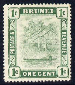 Brunei 1908-22 River Scene MCA 1c green mounted mint SG 34/35