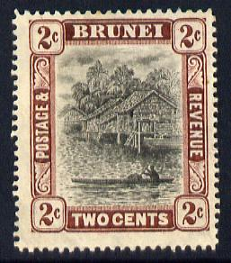 Brunei 1908-22 River Scene MCA 2c black & brown mounted mint SG 36